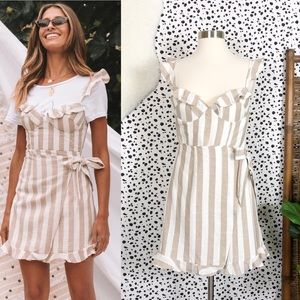 NEW Saints + Secrets | Striped Ruffle Wrap Dress M